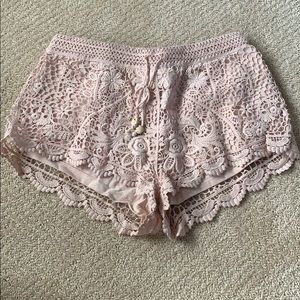 H&M Shorts - H&M baby pink lace shorts
